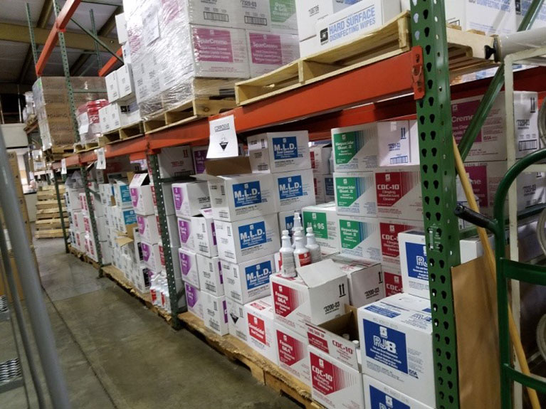 Cleaning Supplies in United Chemical's Stockroom
