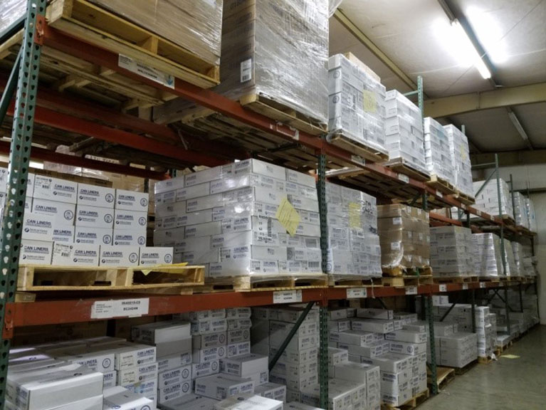 Products Stacked in United Chemical's Stockroom
